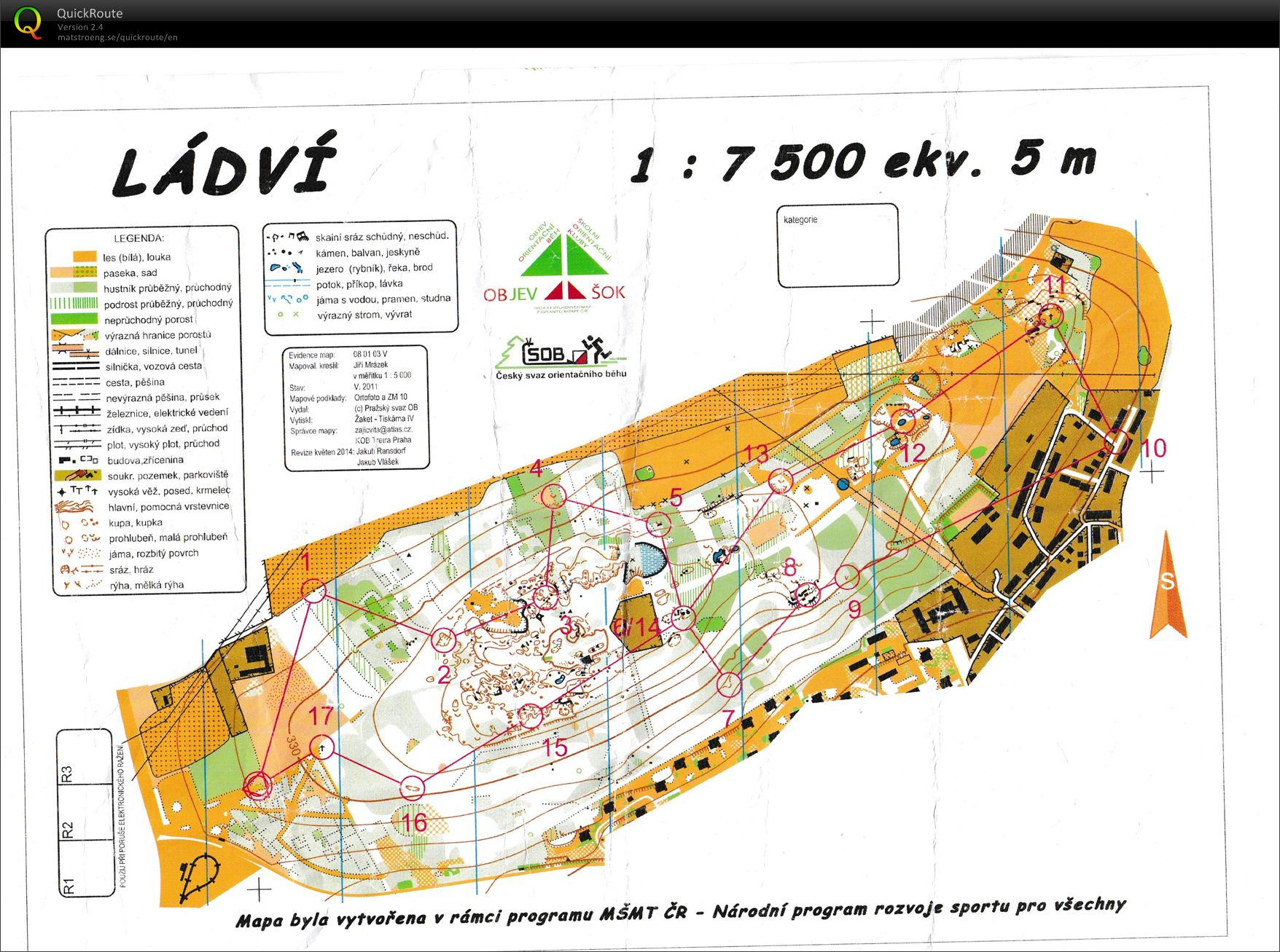 Ladvi Off Road May 20th 2016 Orienteering Map From Bara Halamova